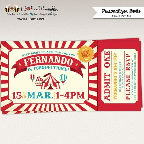 Carnival Ticket Invitation Template Free Awesome Vintage Circus Birthday Party Ticket Invitation