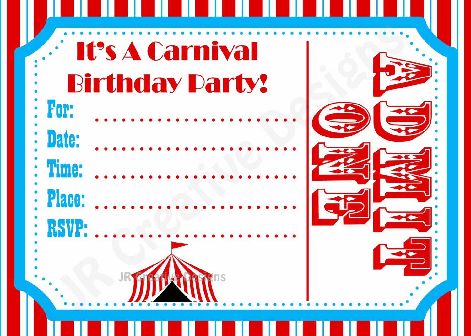 Carnival Ticket Invitation Template Free Beautiful Carnival Invite Circus Invite Circus by Jrcreativedesigns
