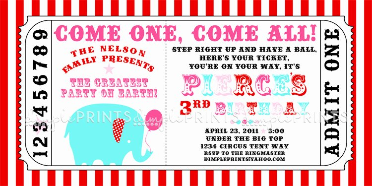 Carnival Ticket Invitation Template Free Beautiful Circus Carnival Ticket Printable Invite Dimple Prints Shop
