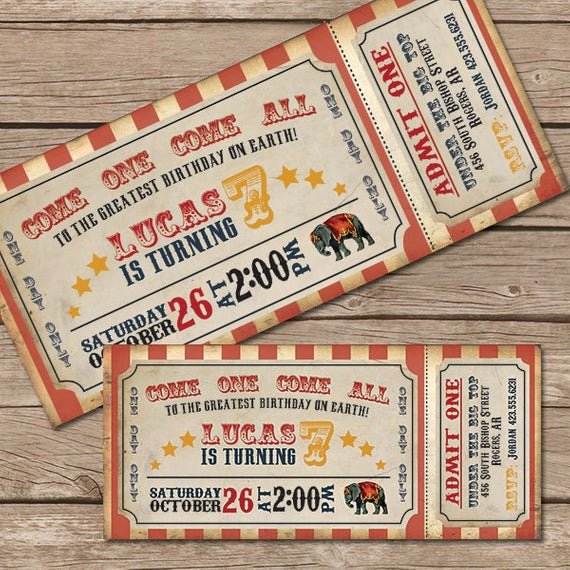 Carnival Ticket Invitation Template Free Beautiful Circus Invitation Vintage Circus Ticket by Littlemountaintop