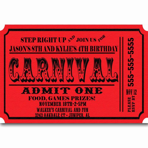 Carnival Ticket Invitation Template Free Best Of Carnival Ticket Birthday Party Invitations Announcement