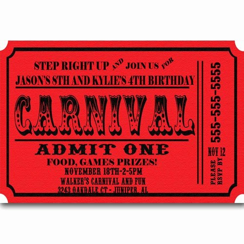 Carnival Ticket Invitation Template Free Elegant Carnival Ticket Birthday Party Invitations Announcement