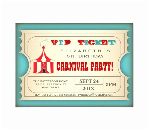 Carnival Ticket Invitation Template Free Elegant Circus Party Invitation Template – 23 Free Jpg Psd