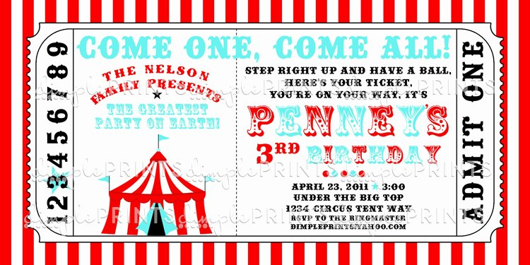 Carnival Ticket Invitation Template Free Elegant Circus Tent Ticket Printable Invitation Dimple Prints Shop