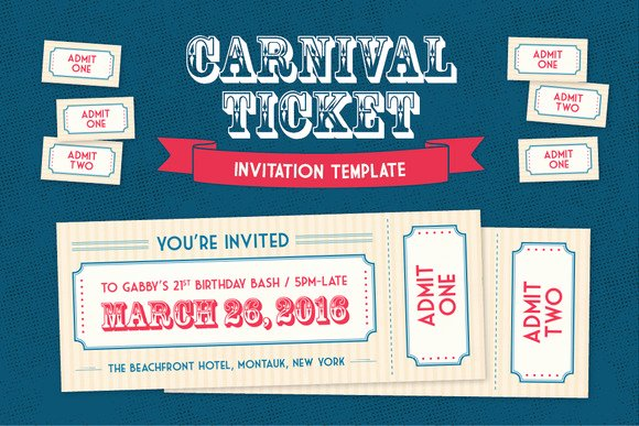 Carnival Ticket Invitation Template Free Fresh Admit E Carnival Ticket Template Designtube Creative