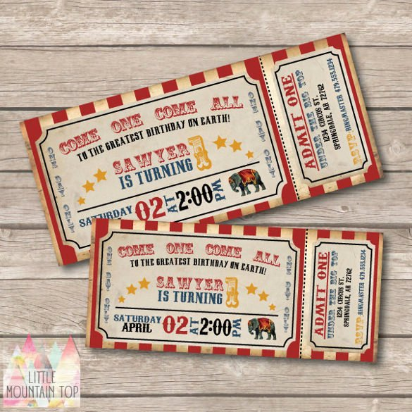 Carnival Ticket Invitation Template Free Fresh Circus Party Invitation Template 24 Free Jpg Psd