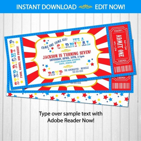Carnival Ticket Invitation Template Free Inspirational Carnival Invitations Carnival theme Party Carnival