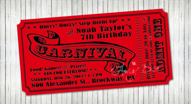 Carnival Ticket Invitation Template Free Luxury Carnival Ticket Invitation Printable