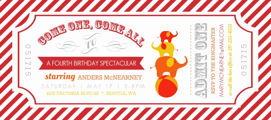 Carnival Ticket Invitation Template Free Luxury Kids Birthday Invitations Carnival Admission Ticket