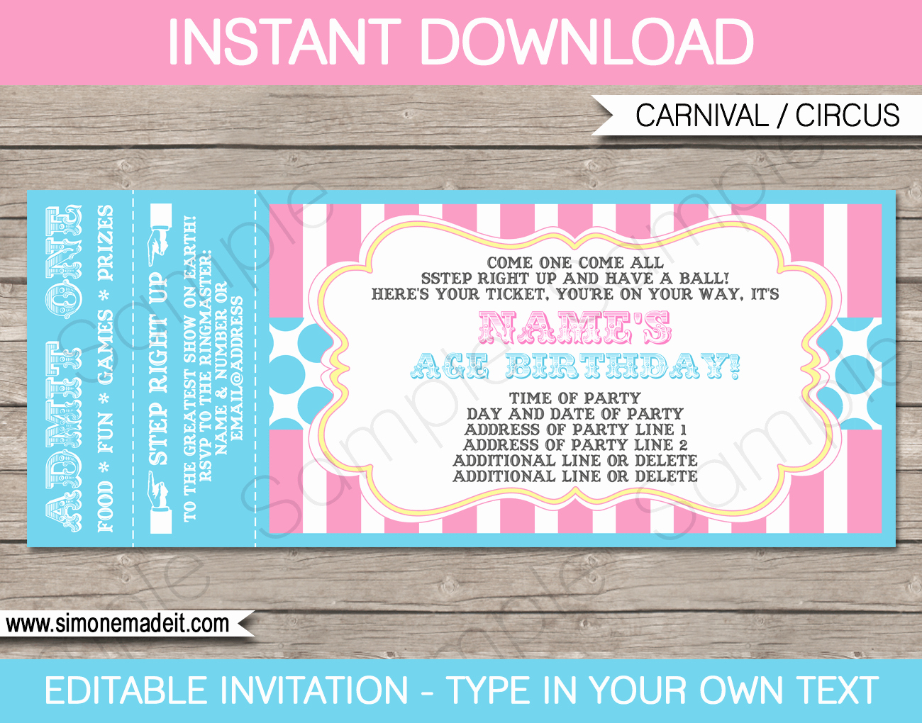 Carnival Ticket Invitation Template Free New Carnival Party Ticket Invitations Template