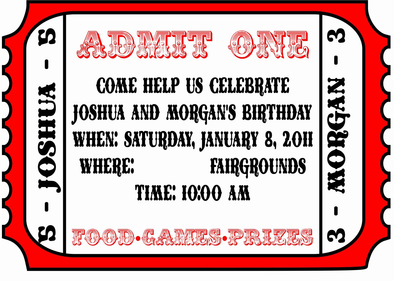 Carnival Ticket Invitation Template Free Unique Carnival Party Invitations