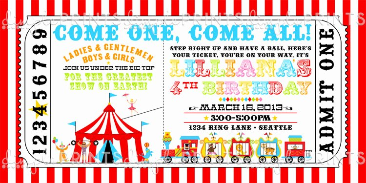 Carnival Ticket Invitation Template Free Unique Circus Ticket Birthday Party Invite Dimple Prints Shop