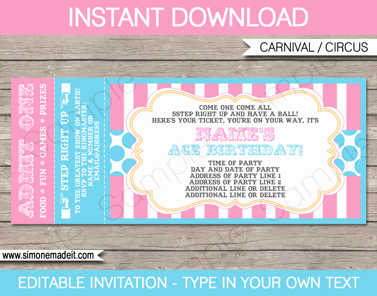 Carnival Ticket Invitation Unique Carnival Ticket Invitations Template Carnival
