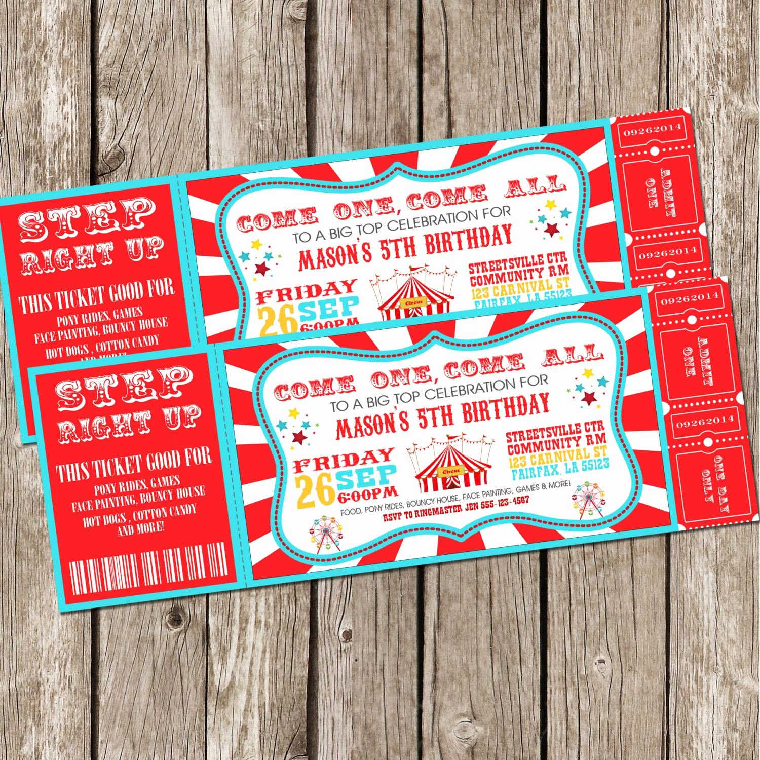 Carnival Ticket Invitation Unique Vintage Circus Carnival Invitation Ticket by