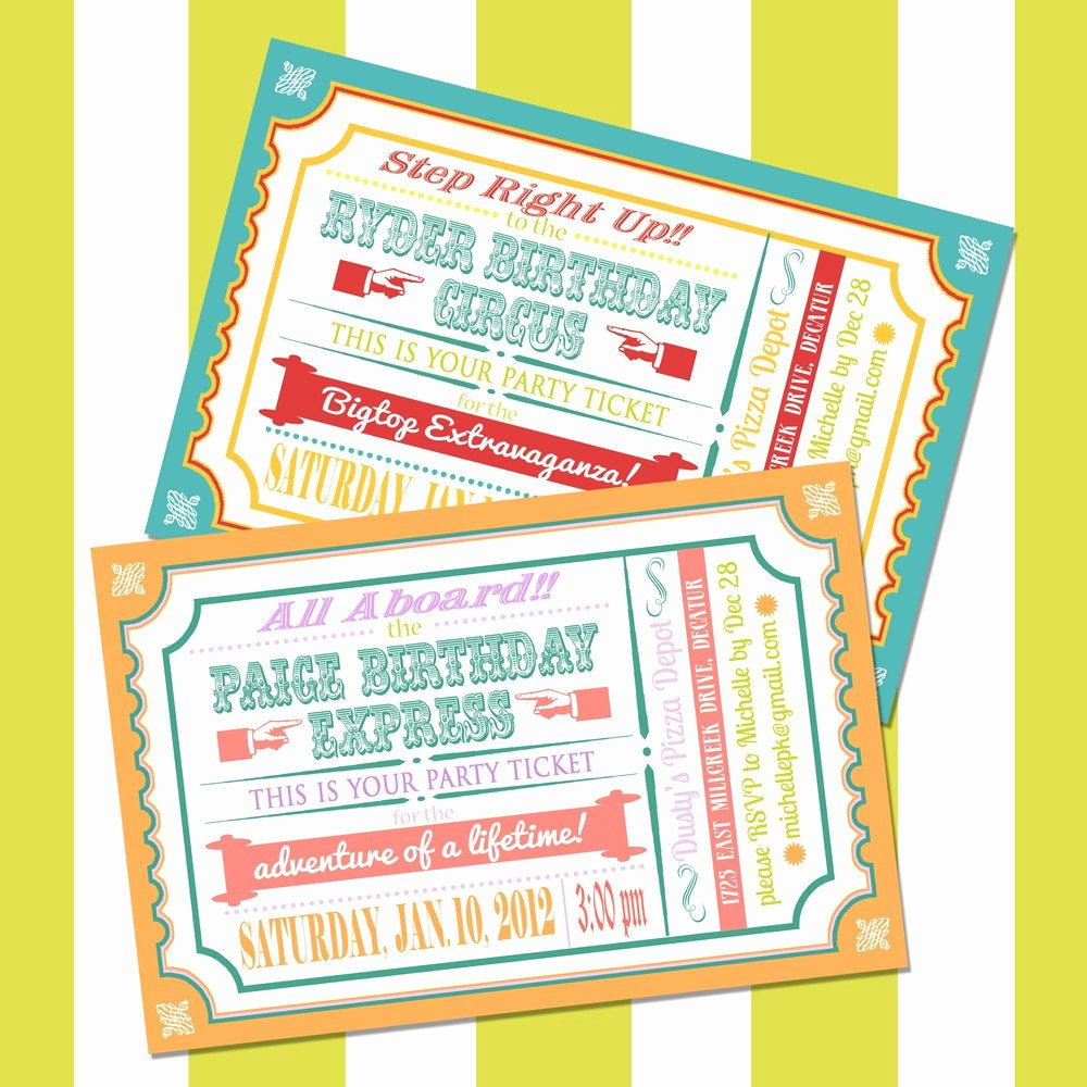 Carnival Ticket Invitations Awesome Train or Circus Ticket Invitation for Boy or Girl Birthday
