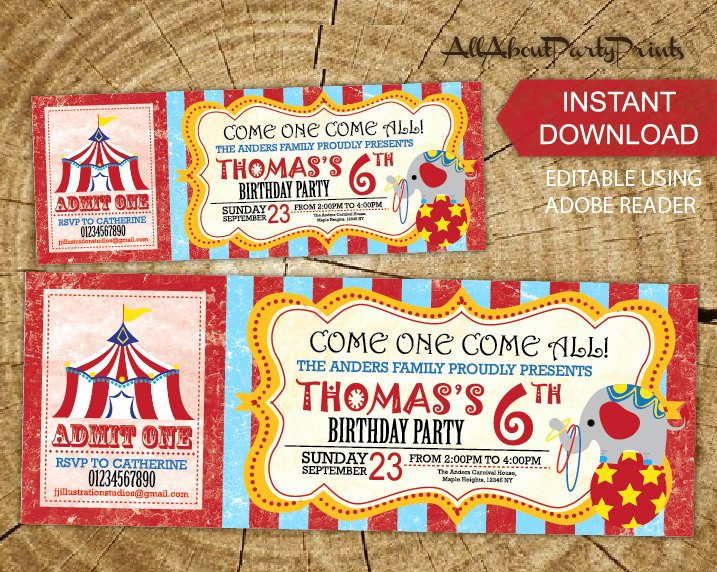 Carnival Ticket Invitations Best Of Instant Download Carnival Circus Birthday theme Birthday