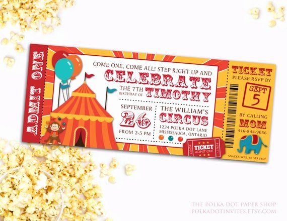 Carnival Ticket Invitations Elegant Circus Party Ticket Invitation Birthday Party Invitation