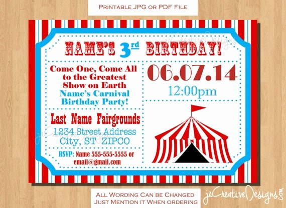Carnival Ticket Invitations Inspirational Circus themed Party Circus Birthday Invitation Ticket