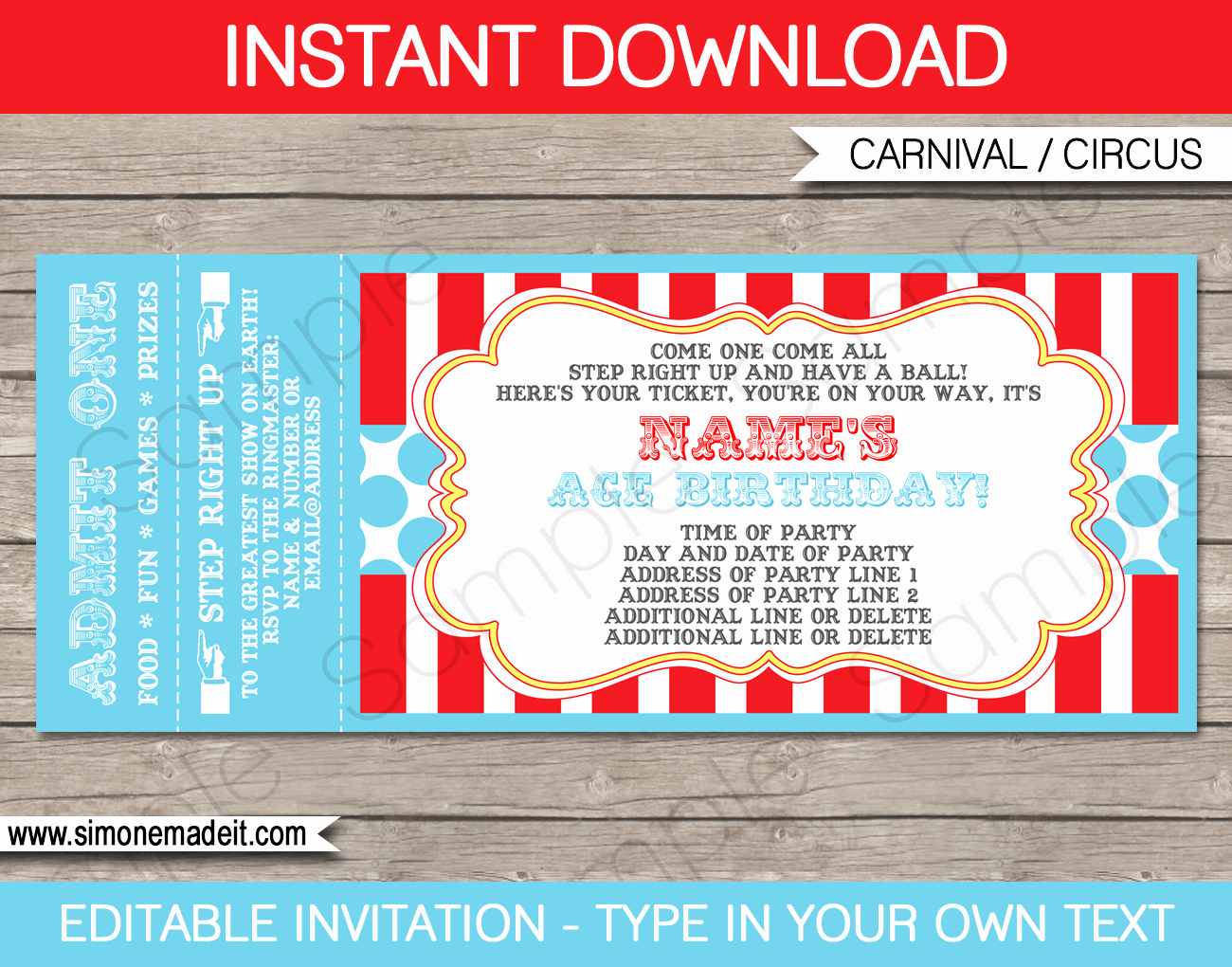 Carnival Ticket Invitations Luxury Circus Party Ticket Invitation Template
