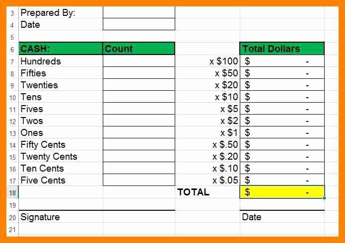 Cash Drawer Count Sheet Template Beautiful Cash Drawer Tally Sheet Template Cash Register Count Sheet
