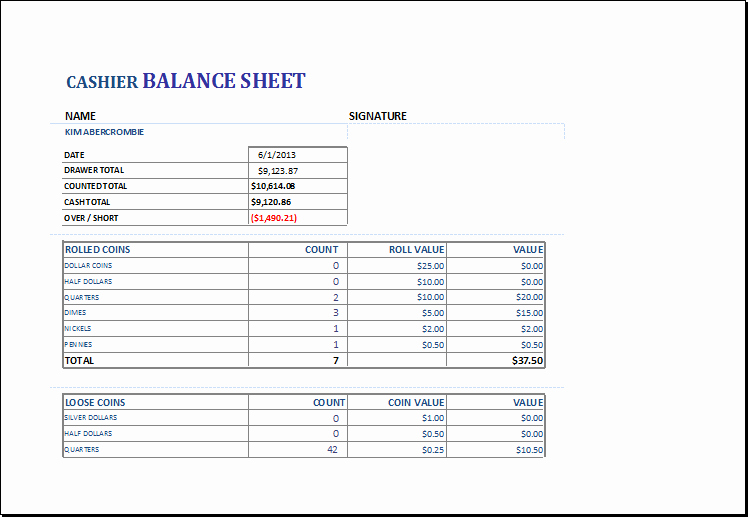 Cash Drawer Count Sheet Template Fresh Cashier Balance Sheet Template for Excel