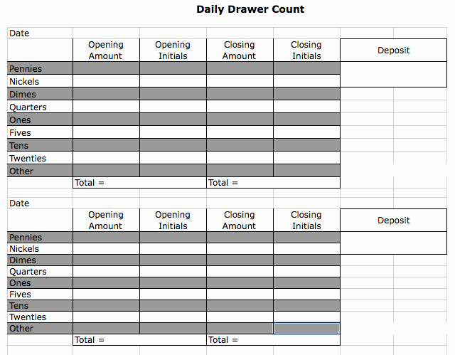 Cash Drawer Count Sheet Template Lovely Money Sheet & Counting Drawer