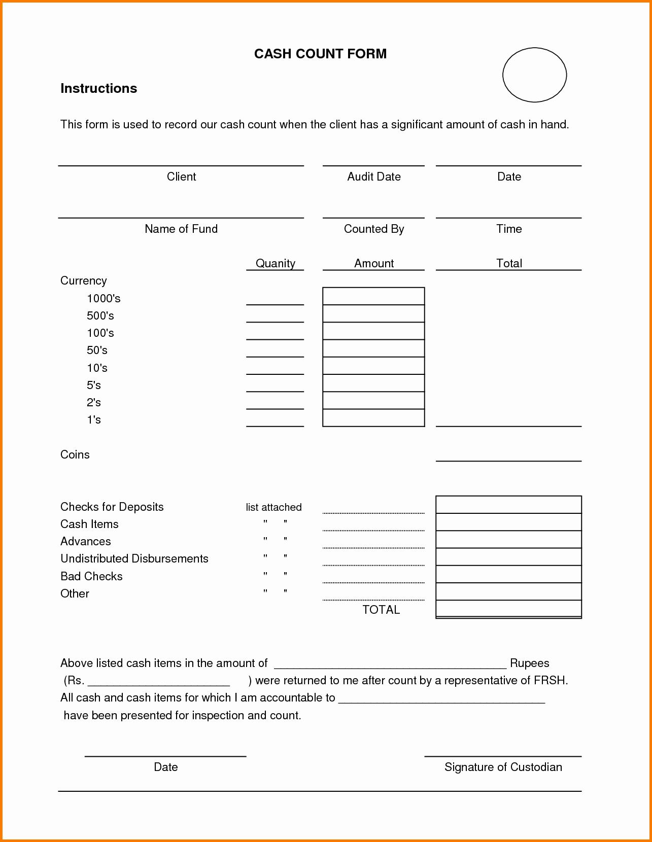 Cash Drawer Count Sheet Template Luxury Cash Drawer Balance Sheet