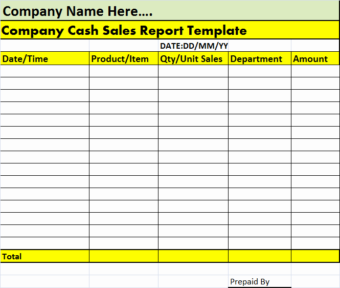 Cash Position Report Template Unique Cash Sales Report Template – Free Report Templates