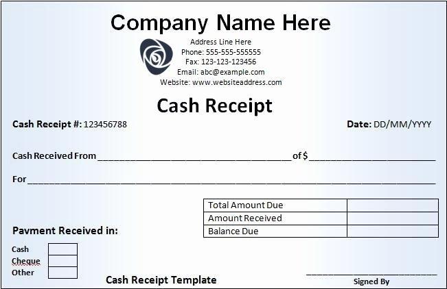 Cash Sale Receipt Template Word Best Of Cash Receipt Template