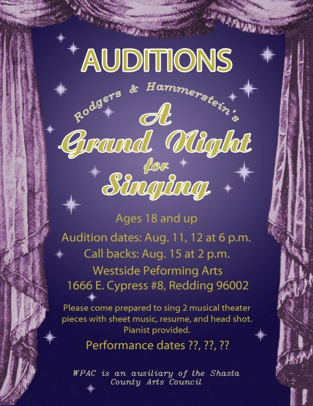 Casting Call Flyer Template Elegant 'a Grand Night for Singing' Auditions – Anewscafe