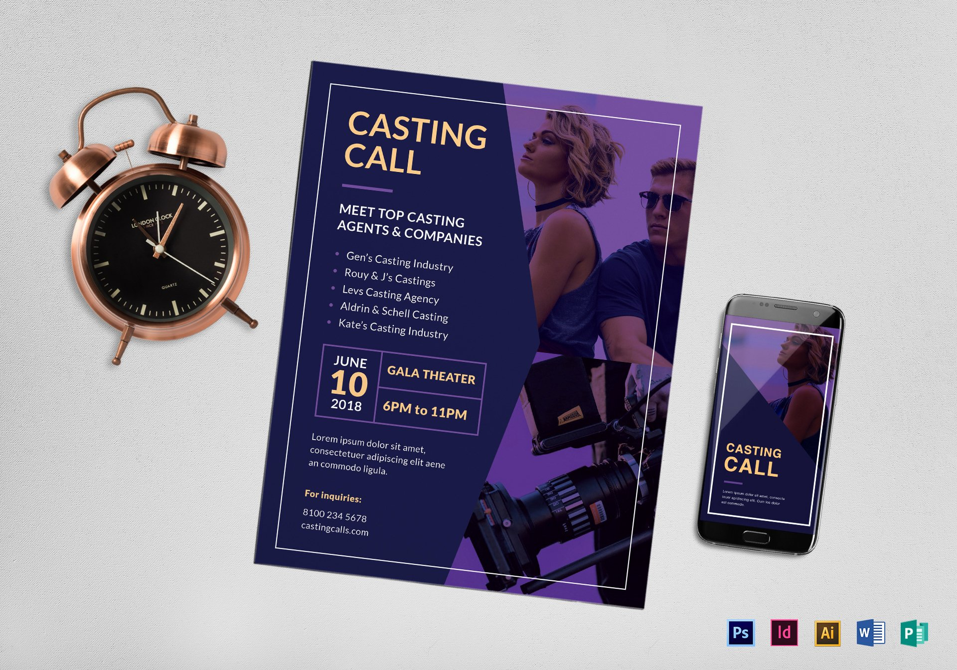 Casting Call Flyer Template Luxury Casting Call Flyer Design Template In Psd Word Publisher