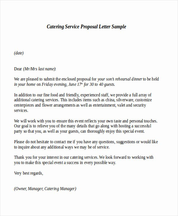 Catering Estimate Template Beautiful Sample Service Proposal Letter 9 Examples In Word Pdf