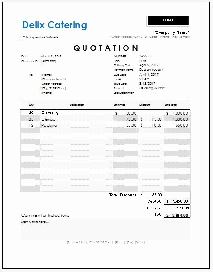 Catering Estimate Template Luxury Catering Quotation Templates for Ms Excel