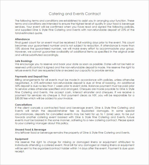 Catering Estimate Template Unique 11 Catering Contract Templates – Free Word Pdf