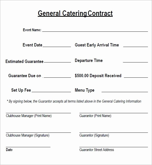 Catering forms Templates Beautiful Catering Contract 7 Free Pdf Download