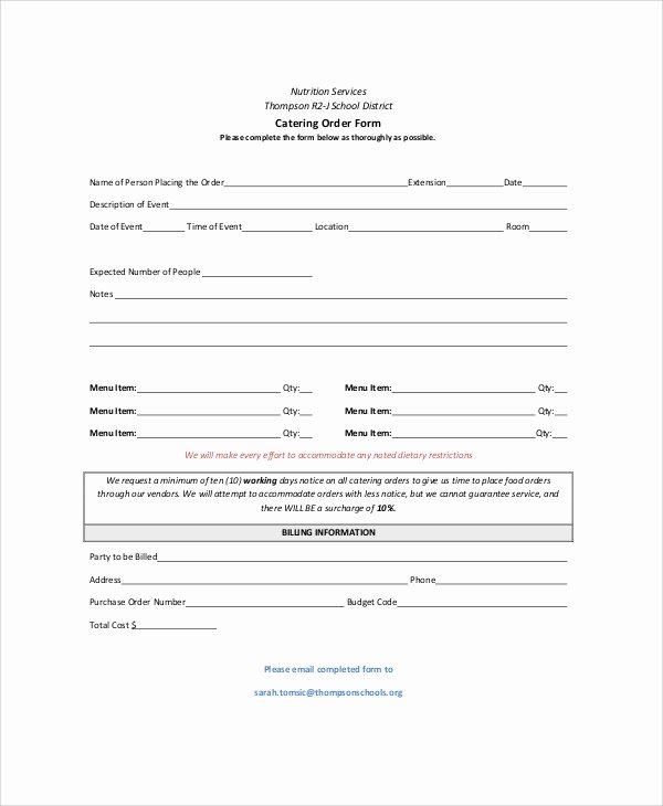 Catering forms Templates Beautiful Sample Catering order form 11 Examples In Word Pdf