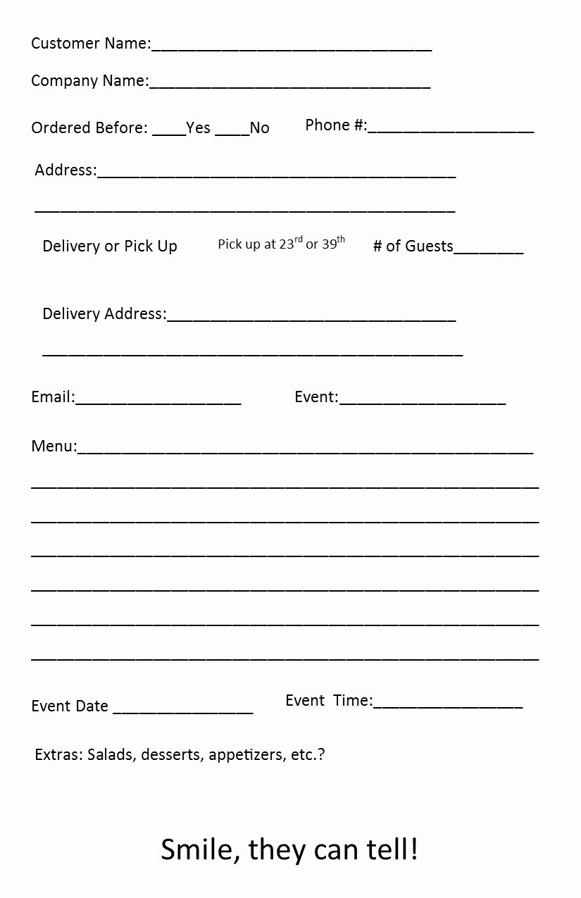 Catering forms Templates Best Of Free Catering order form Template – Independent Restaurant