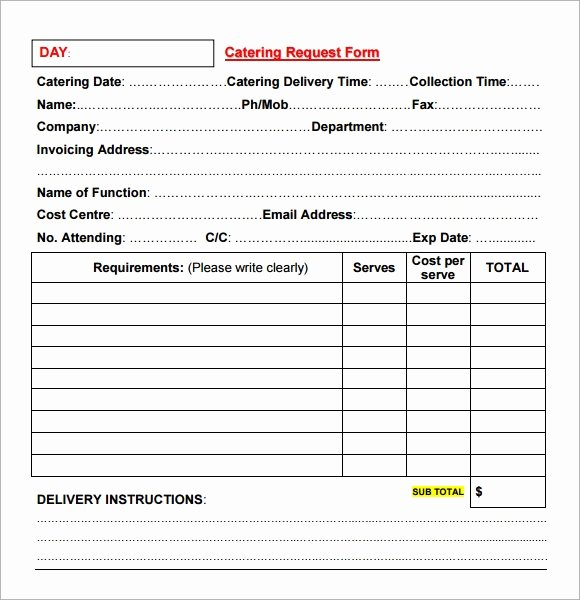 Catering forms Templates Lovely Catering Invoice Sample 17 Documents In Pdf Word
