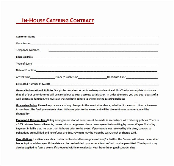 Catering forms Templates New 13 Sample Catering Contract Templates Pdf Word Apple