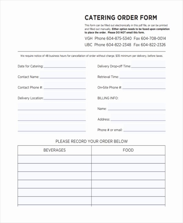 Catering forms Templates Unique 36 Free order forms