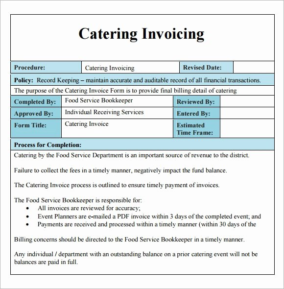 Catering Quote Template Free Elegant 16 Catering Invoice Samples