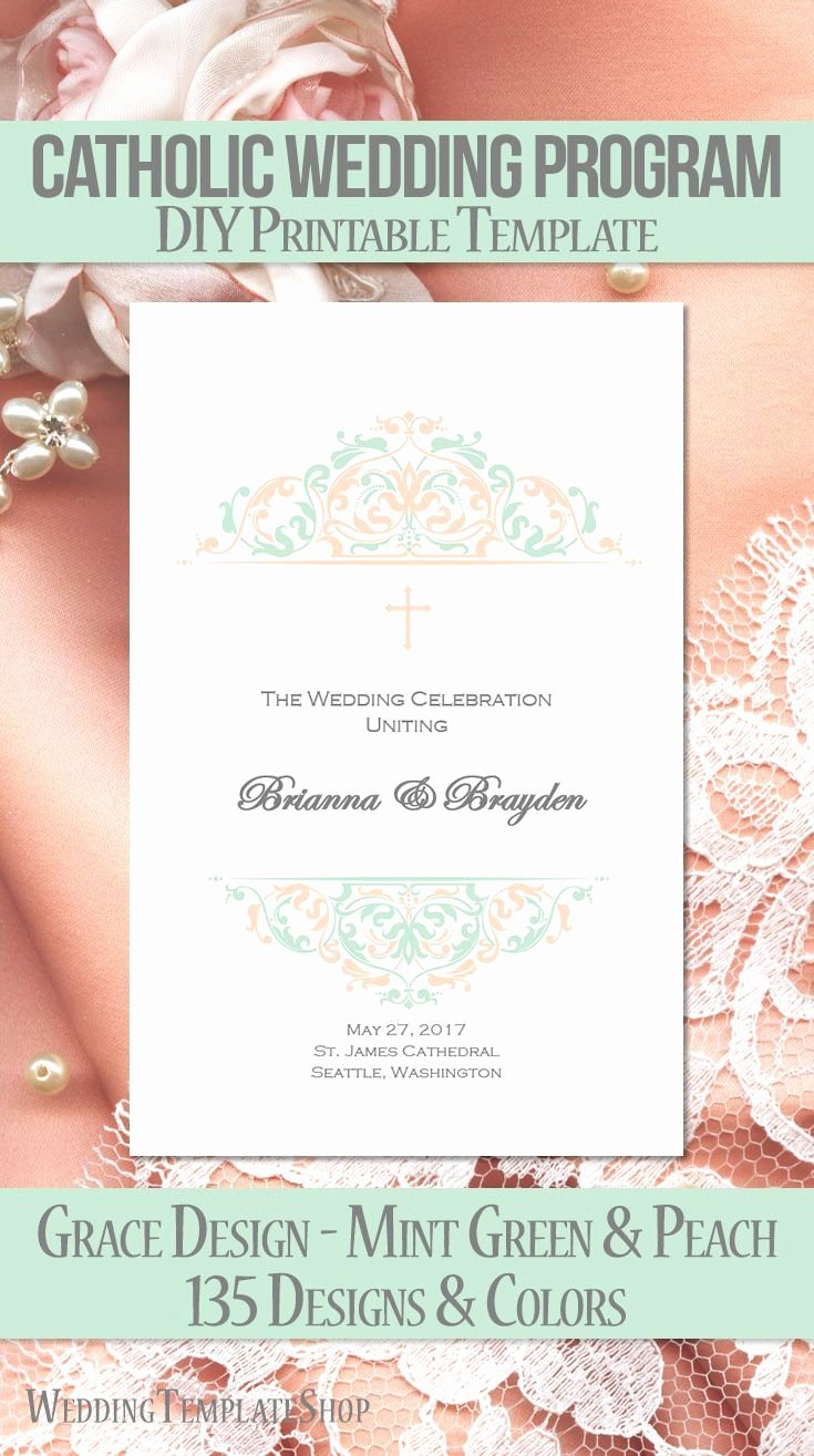 Catholic Wedding Ceremony Program Templates Beautiful 111 Best Catholic Wedding Programs Diy Printable order Of