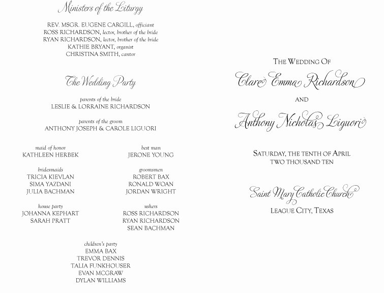 Catholic Wedding Ceremony Program Templates Beautiful Best S Of Copy Church Programs Sample Wedding