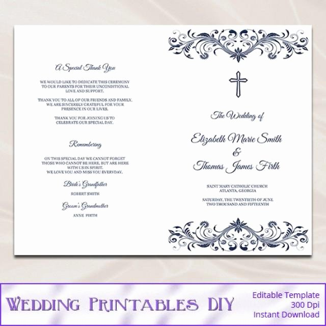 Catholic Wedding Ceremony Program Templates Beautiful Catholic Wedding Program Template Diy Navy Blue Cross