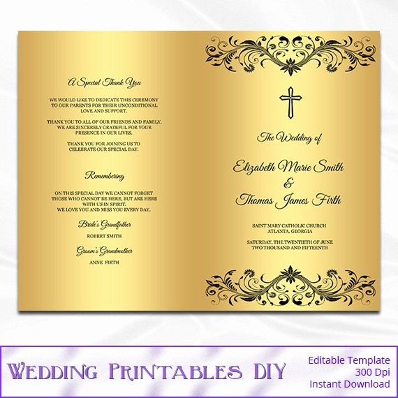 Catholic Wedding Ceremony Program Templates Best Of Catholic Wedding Program Template Diy by