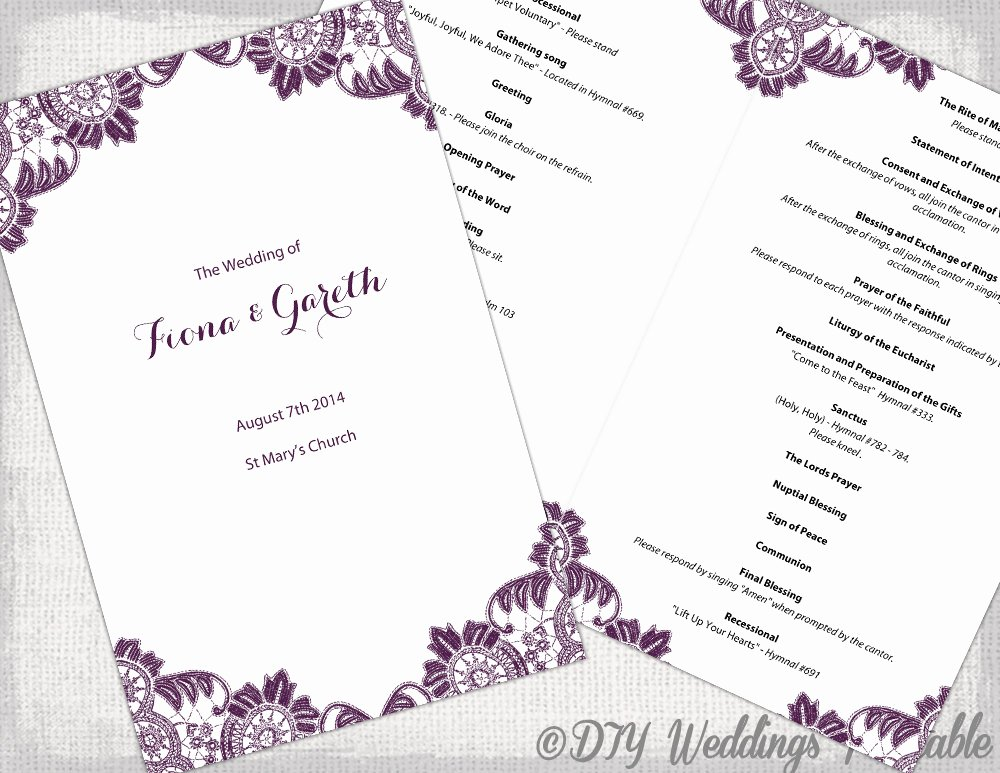 Catholic Wedding Ceremony Program Templates Luxury Plum Catholic Wedding Program Template Antique