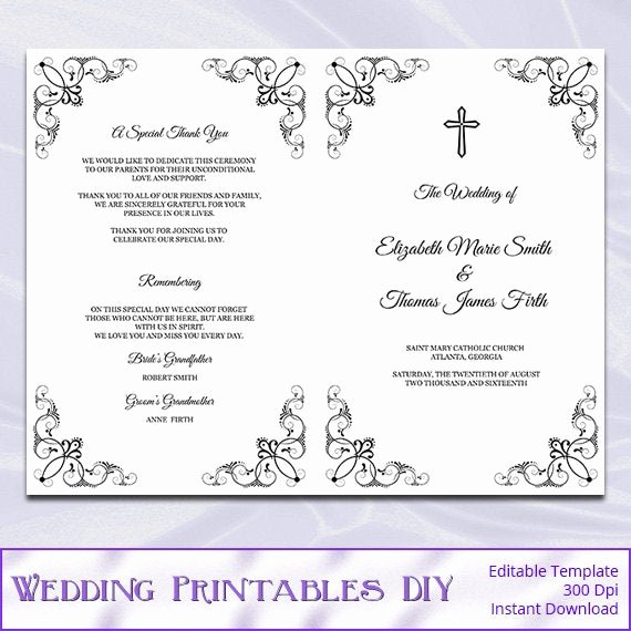 Catholic Wedding Ceremony Program Templates Unique Catholic Wedding Program Template Diy Black White Cross