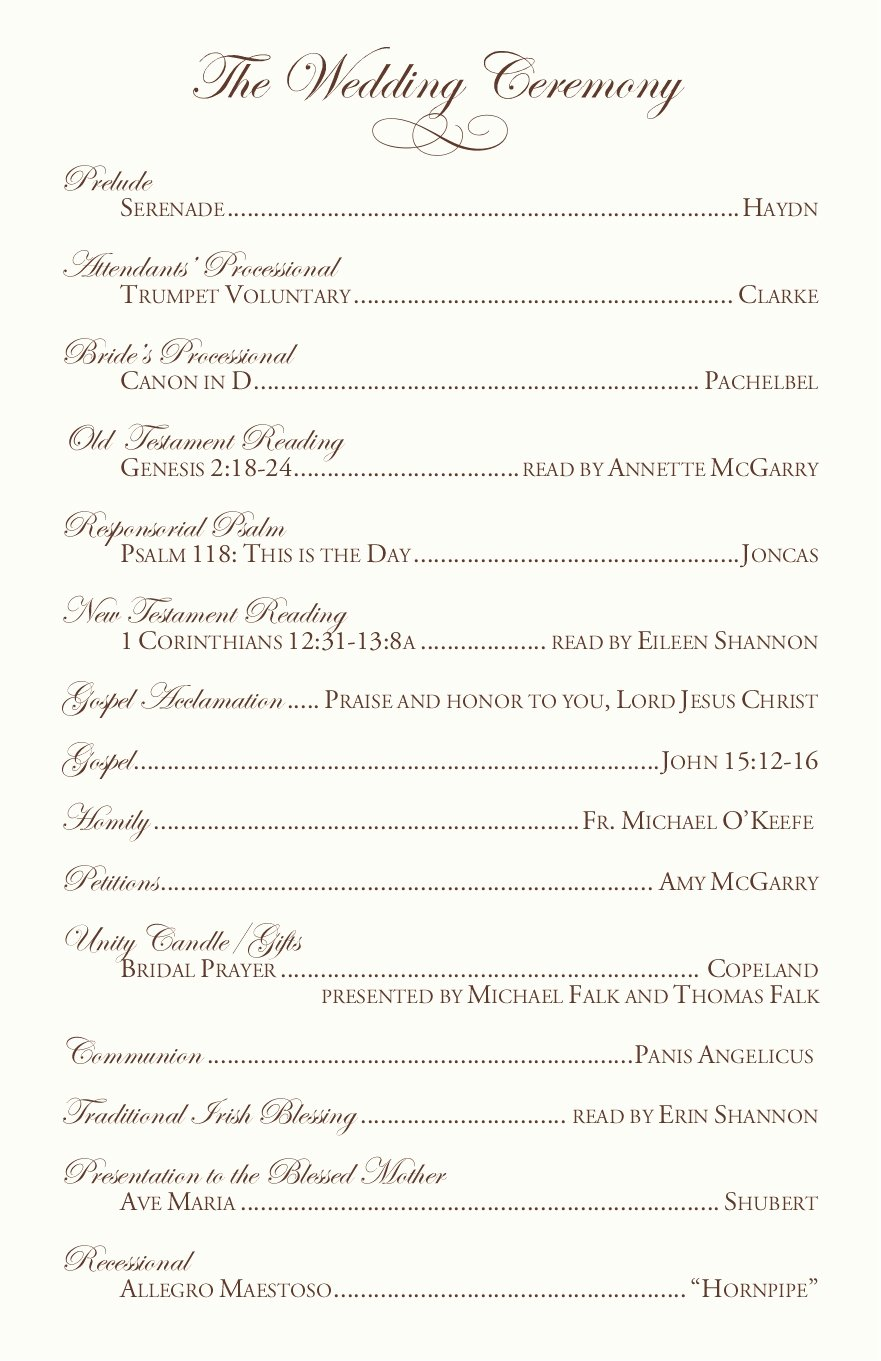 Catholic Wedding Mass Program Template Awesome Catholic Mass Wedding Ceremony Catholic Wedding Traditions
