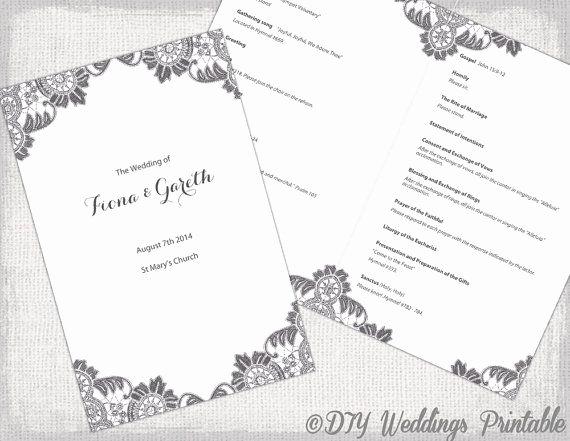 Catholic Wedding Mass Program Template Elegant Diy Catholic Wedding Program Template Charcoal Gray