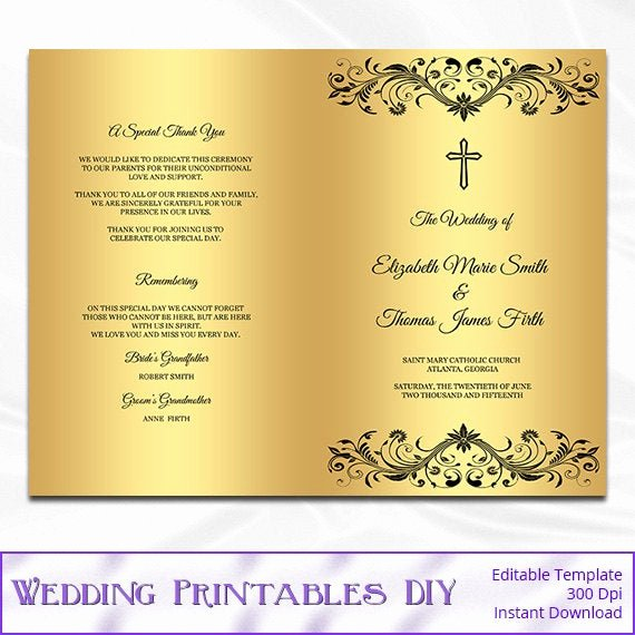 Catholic Wedding Mass Program Template Elegant Items Similar to Catholic Wedding Program Template Diy